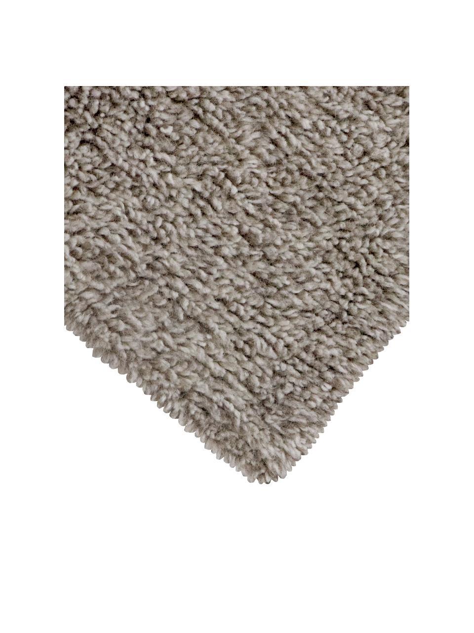 Tappeto in lana grigia lavabile fatto a mano Tundra, Retro: cotone riciclato Nel caso, Grigio, Larg. 80 x Lung. 140 cm (taglia XS)