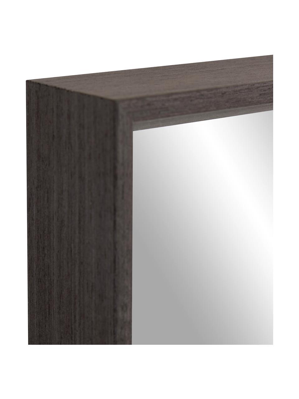 Eckiger Wandspiegel Nerina mit braunem Holzrahmen, Rahmen: Holz, Spiegelfläche: Spiegelglas, Braun , 80 x 180 cm