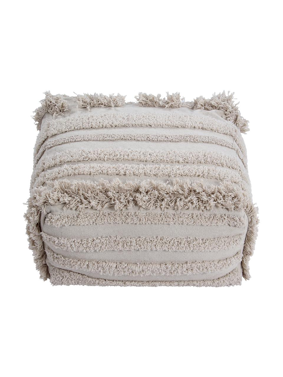 Cuscino da pavimento boho Air, Rivestimento: 70% cotone, 30% cotone ri, Beige, Larg. 55 x Alt. 27 cm
