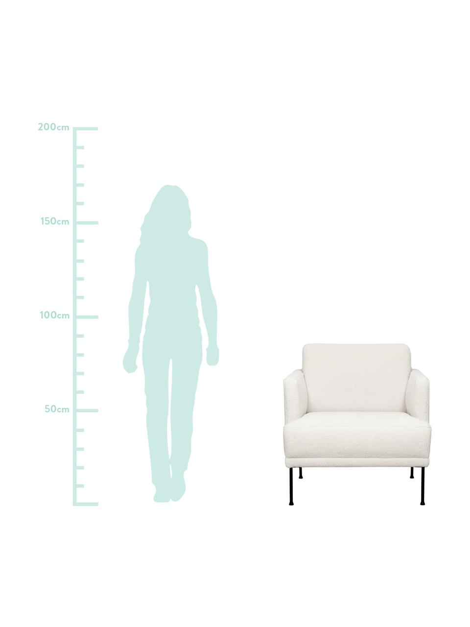 Fotel z metalowymi nogami Teddy Fluente, Tapicerka: 100% poliester (Teddy) Dz, Nogi: metal malowany proszkowo, Kremowobiały teddy, S 74 x G 85 cm