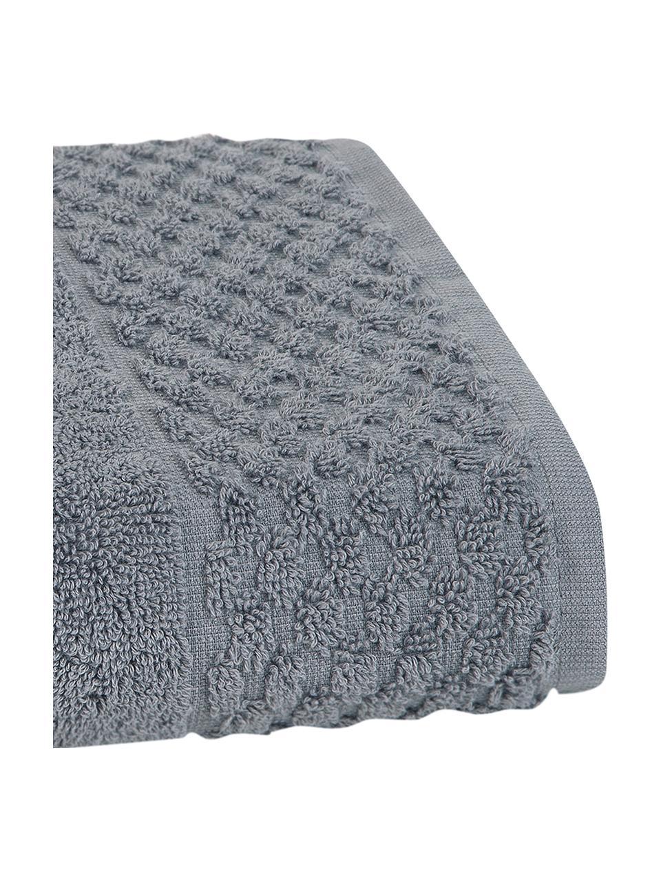 Set 3 asciugamani con motivo a nido d'ape Katharina, Grigio scuro, Set in varie misure