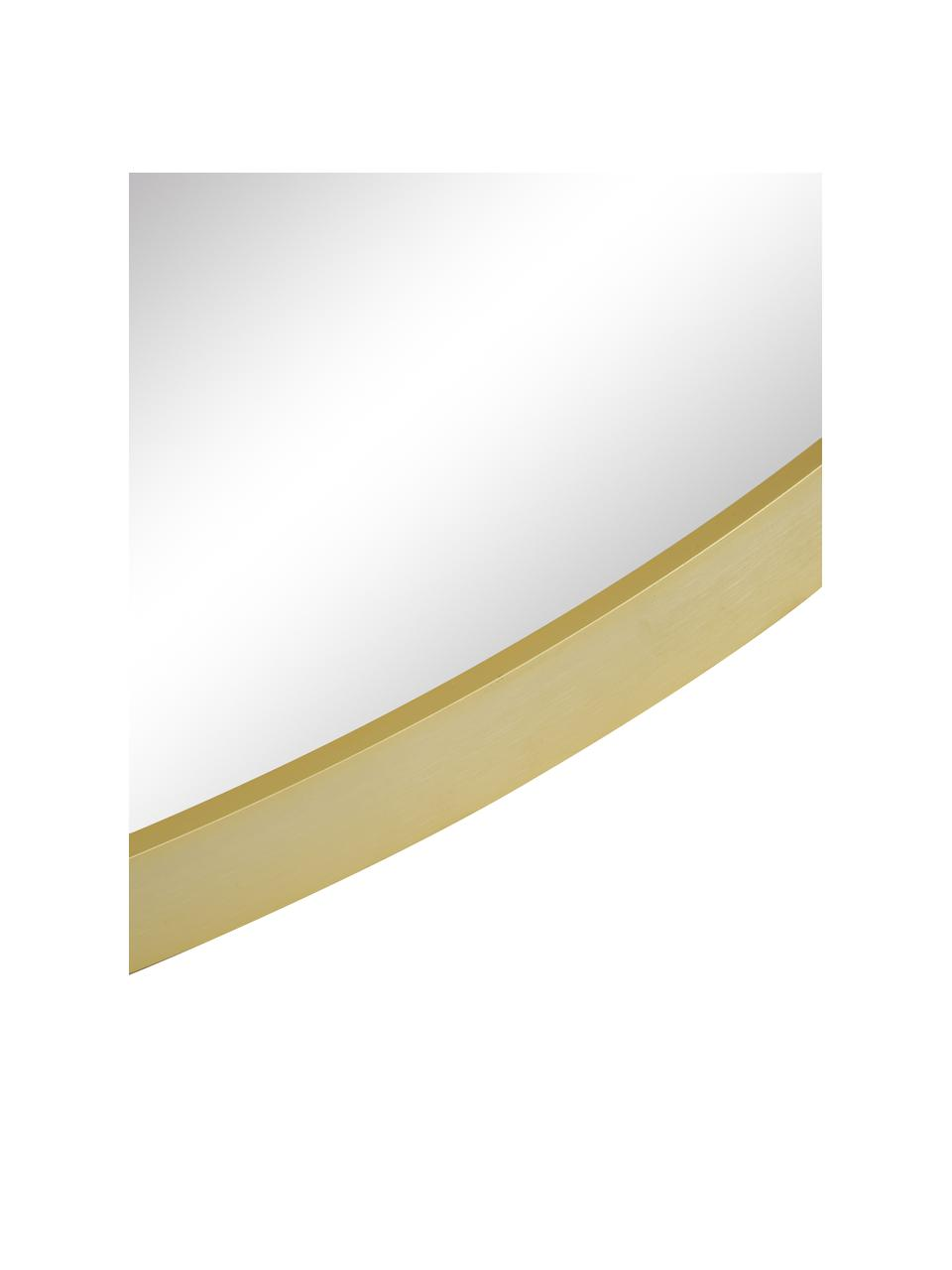 Runder Wandspiegel Ida mit goldenem Aluminiumrahmen, Rahmen: Aluminium, beschichtet, Rückseite: Mitteldichte Holzfaserpla, Spiegelfläche: Spiegelglas, Goldfarben, Ø 55 x T 3 cm