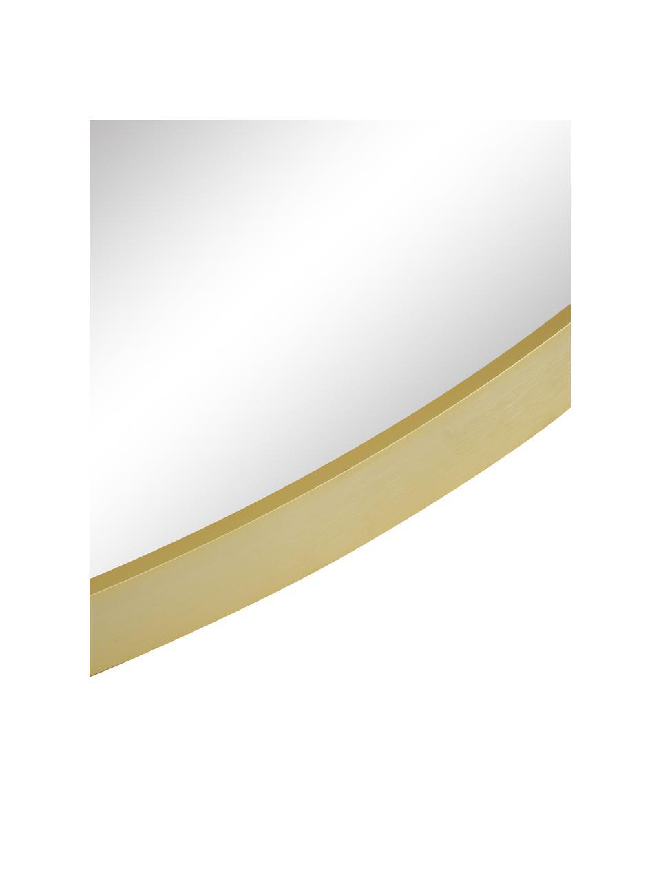 Specchio rotondo da parete con cornice dorata Ida, Cornice: alluminio rivestito, Retro: pannelli di fibra a media, Superficie dello specchio: lastra di vetro, Dorato, Ø 55 cm x Prof. 3 cm