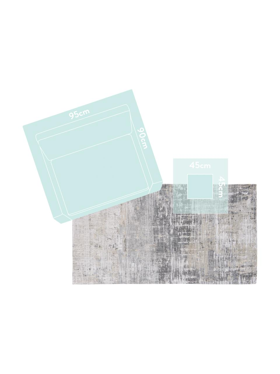 Tappeto grigio di design Streaks, Tessuto: Jacquard, Retro: Miscela di cotone, rivest, Tonalità grigie, Larg. 140 x Lung. 200 cm (taglia S)