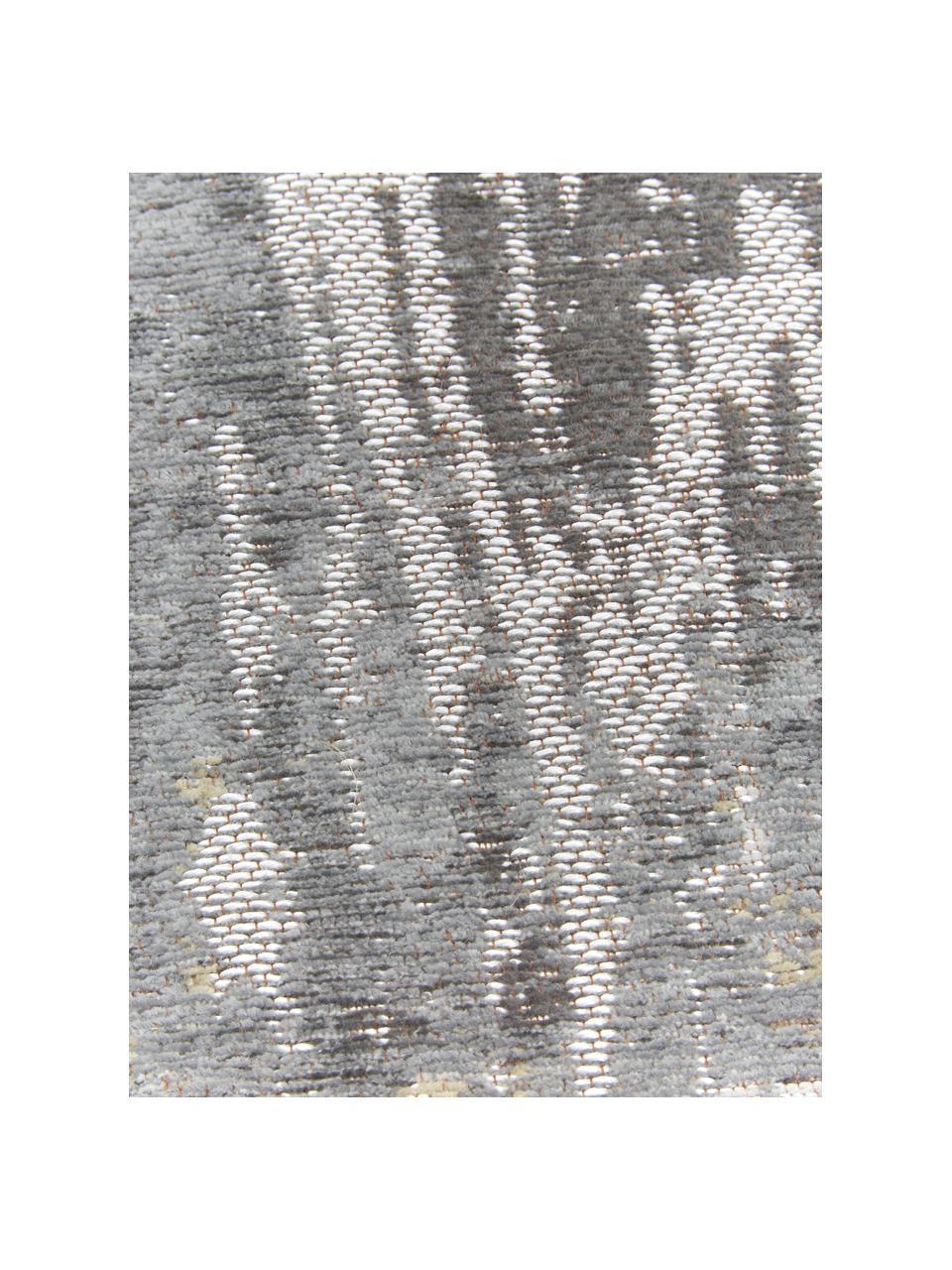 Design vloerkleed Streaks in grijs, Bovenzijde: 85%katoen, 15%hoogglanz, Weeftechniek: jacquard, Onderzijde: katoenmix, gecoat met lat, Grijstinten, B 140 x L 200 cm (maat S)