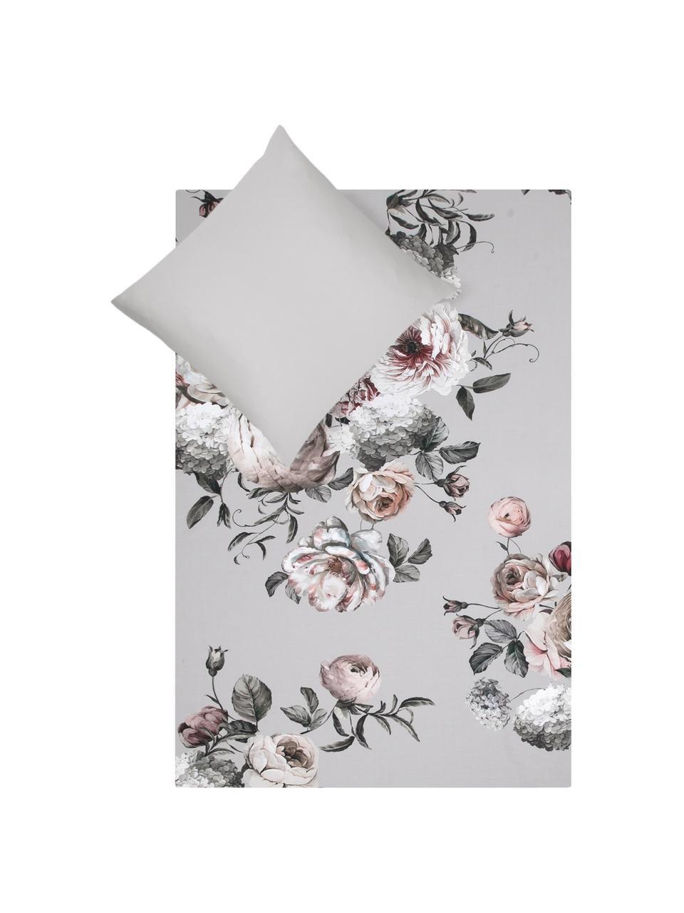 Baumwollsatin-Bettwäsche Blossom mit Blumen-Print, Webart: Satin Fadendichte 210 TC,, Mehrfarbig, Grau, 135 x 200 cm + 1 Kissen 80 x 80 cm