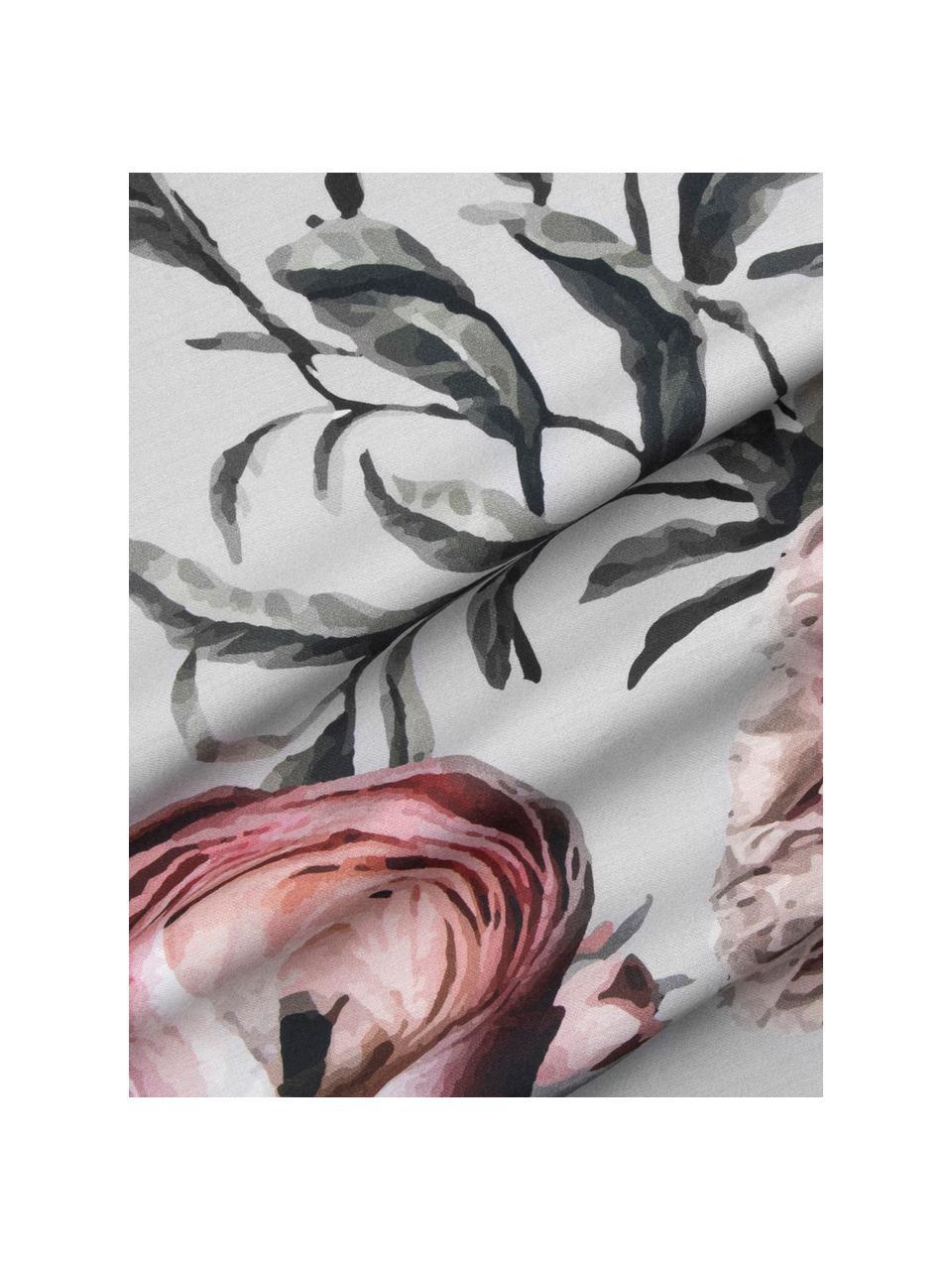 Povlečení zbavlněného saténu s květinovým potiskem Blossom, Více barev, šedá