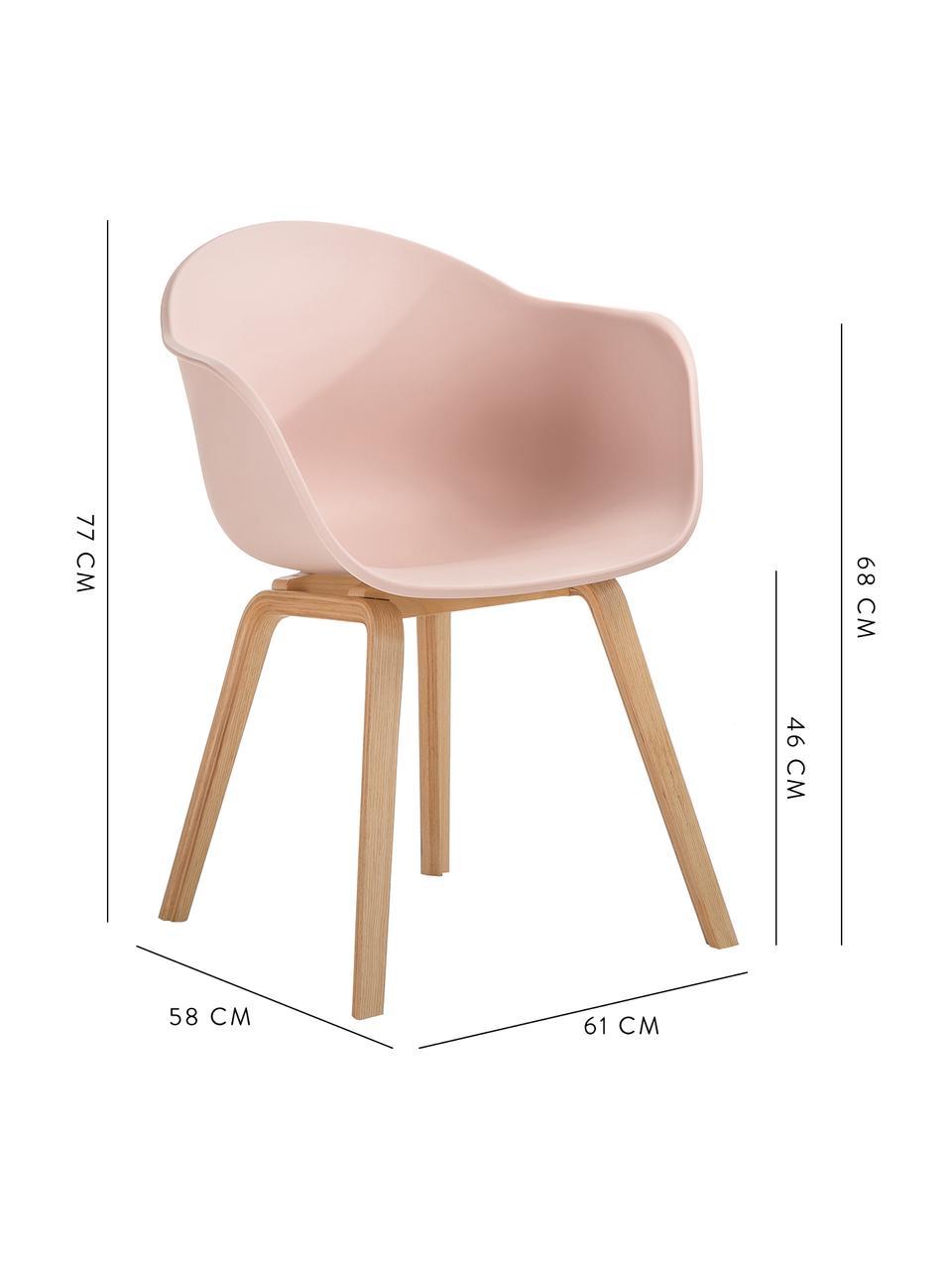 Sedia con braccioli e gambe in legno Claire, Seduta: materiale sintetico, Gambe: legno di faggio, Materiale sintetico rosa, Larg. 60 x Alt. 54 cm