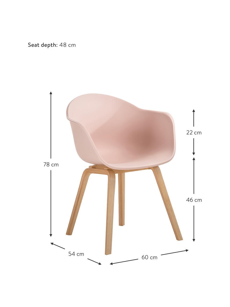 Kunststoff-Armlehnstuhl Claire mit Holzbeinen, Sitzschale: Kunststoff, Beine: Buchenholz, Rosa, B 60 x T 54 cm