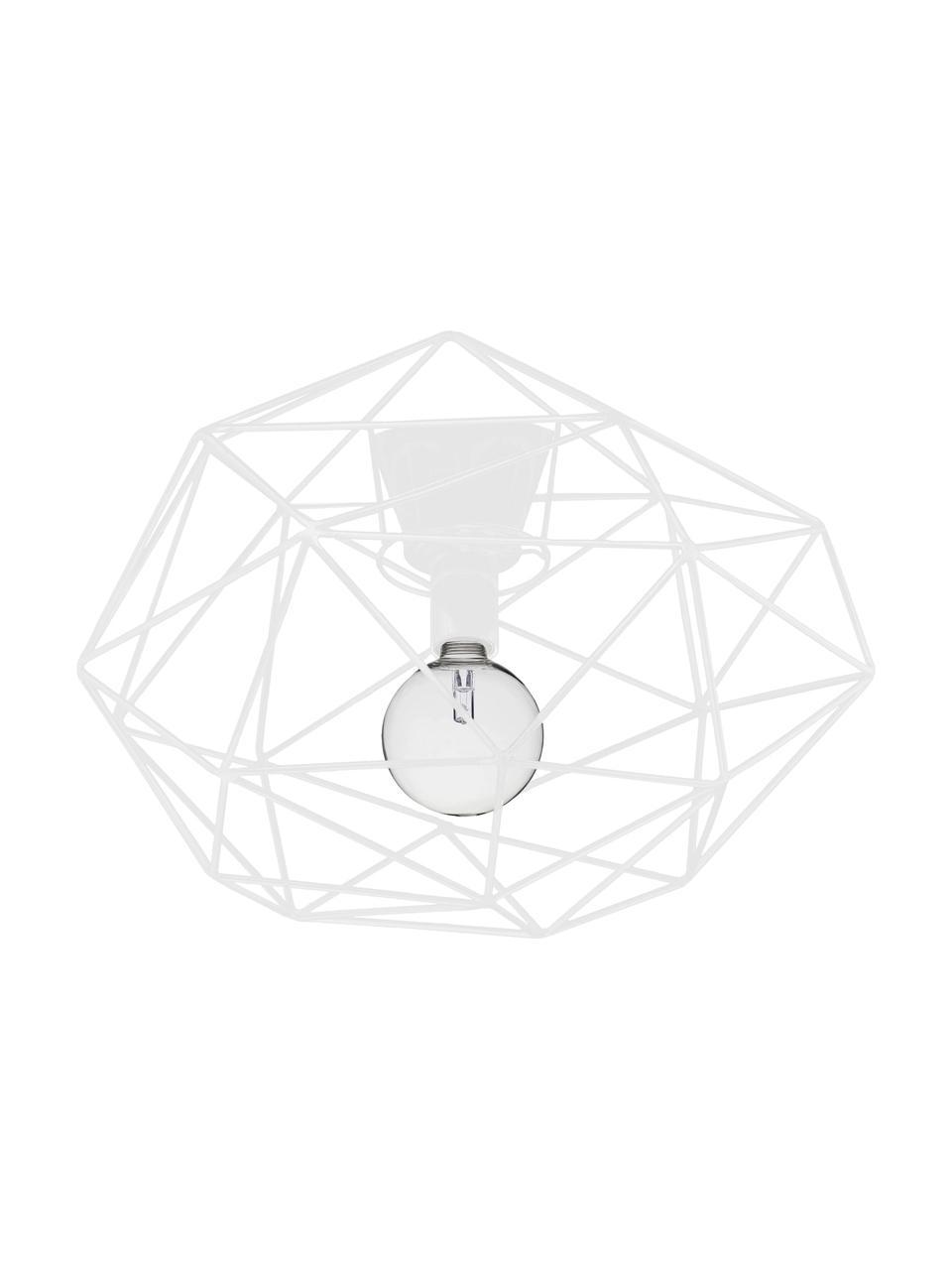 Deckenleuchte Diamond in Weiß, Baldachin: Messing, lackiert, Weiß, Ø 50 x H 32 cm