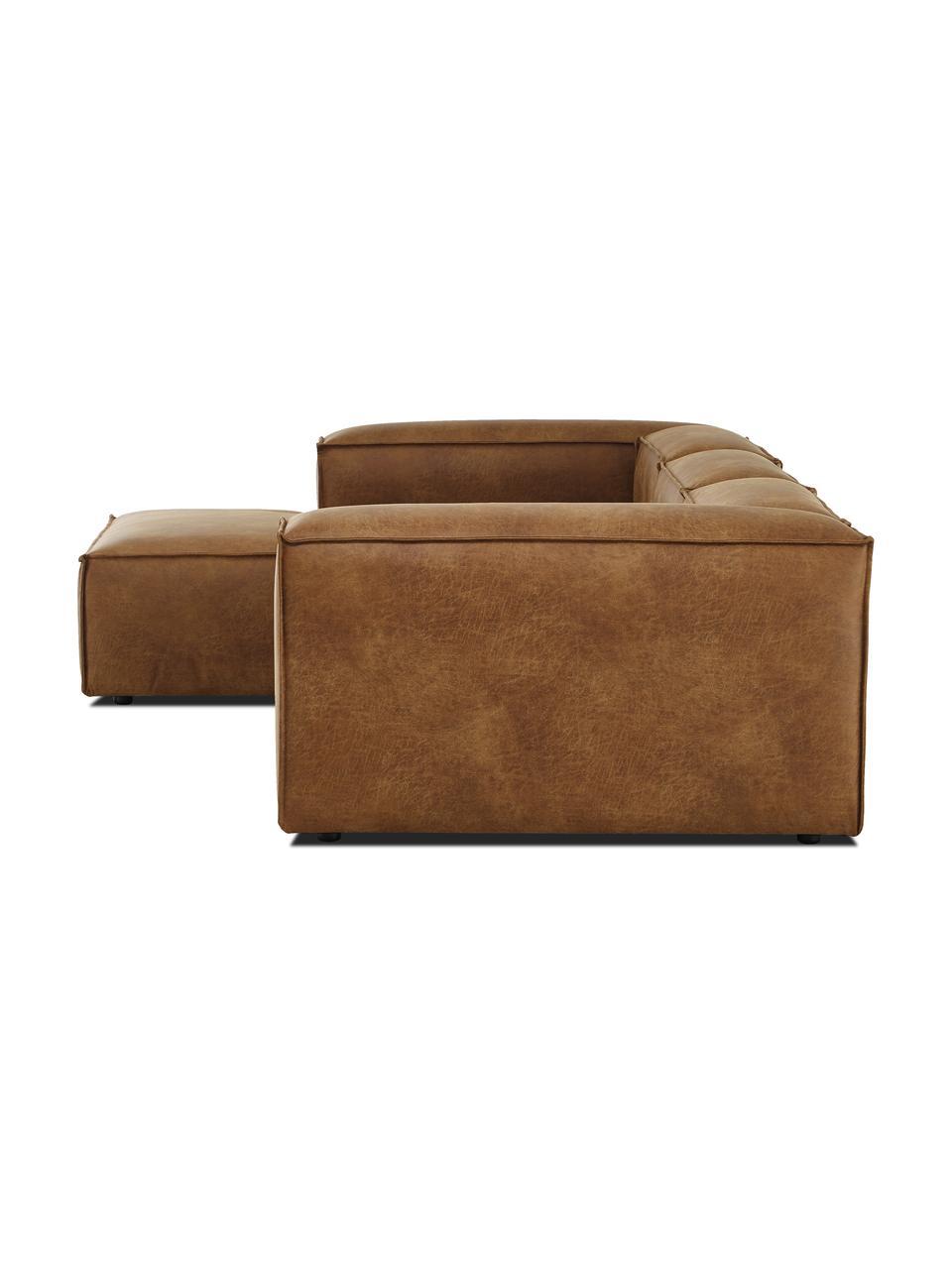 Narożna sofa modułowa ze skóry z recyklingu Lennon, Tapicerka: skóra pochodząca z recykl, Stelaż: lite drewno sosnowe, skle, Nogi: tworzywo sztuczne Nogi zn, Brązowy, S 327 x G 180 cm