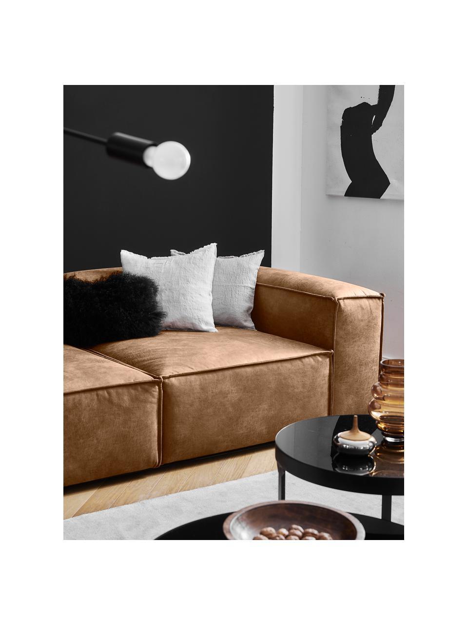 Narożna sofa modułowa ze skóry z recyklingu Lennon, Tapicerka: skóra pochodząca z recykl, Stelaż: lite drewno sosnowe, skle, Nogi: tworzywo sztuczne Nogi zn, Skórzany brązowy, S 327 x G 180 cm