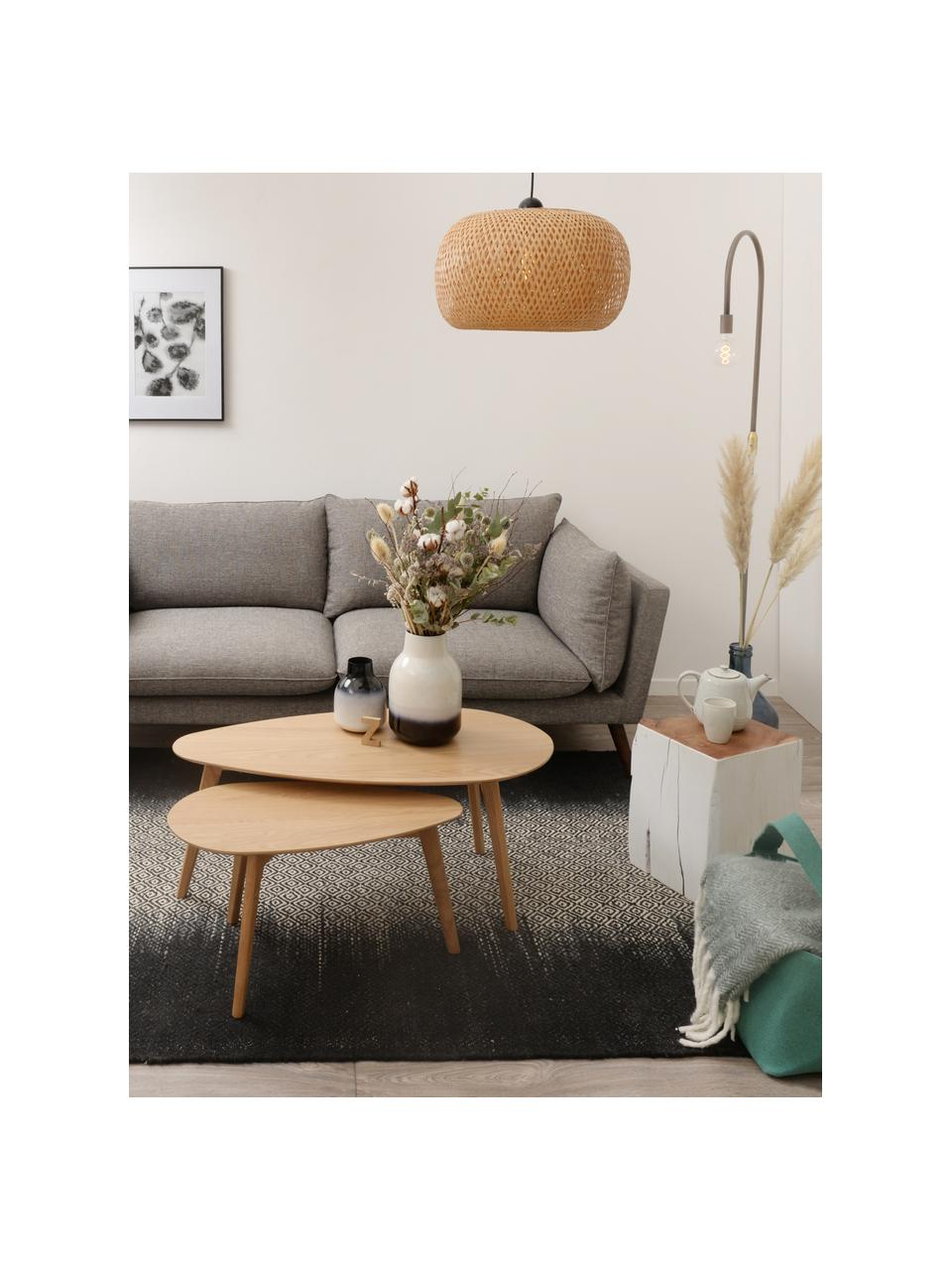 Set 2 tavolini da salotto Bloom, Ripiani: Pannelli di fibra a media, Gambe: legno di quercia, Legno di quercia, Set in varie misure