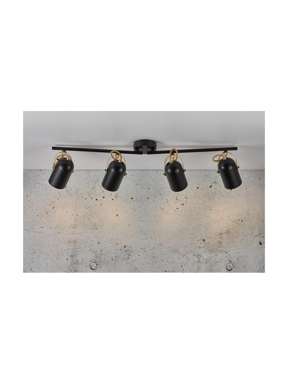 Großer Retro-Deckenstrahler Lotus, Lampenschirm: Metall, beschichtet, Schwarz, Messingfarben, 78 x 20 cm