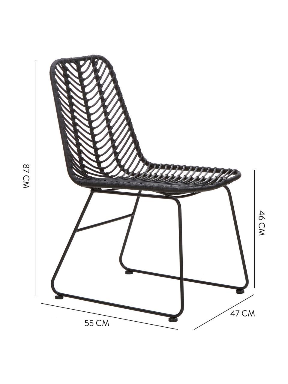 Polyrattan-Stuhl Providencia, Sitzfläche: Polyethylen-Geflecht, Gestell: Metall, pulverbeschichtet, Schwarz, B 47 x T 63 cm