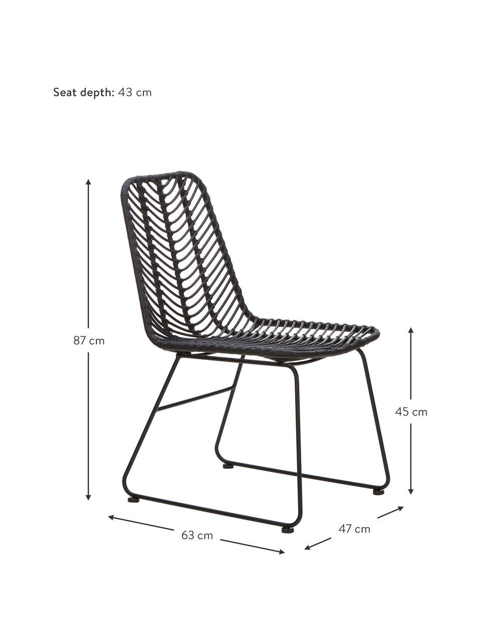Chaise en polyrotin Providencia, Noir