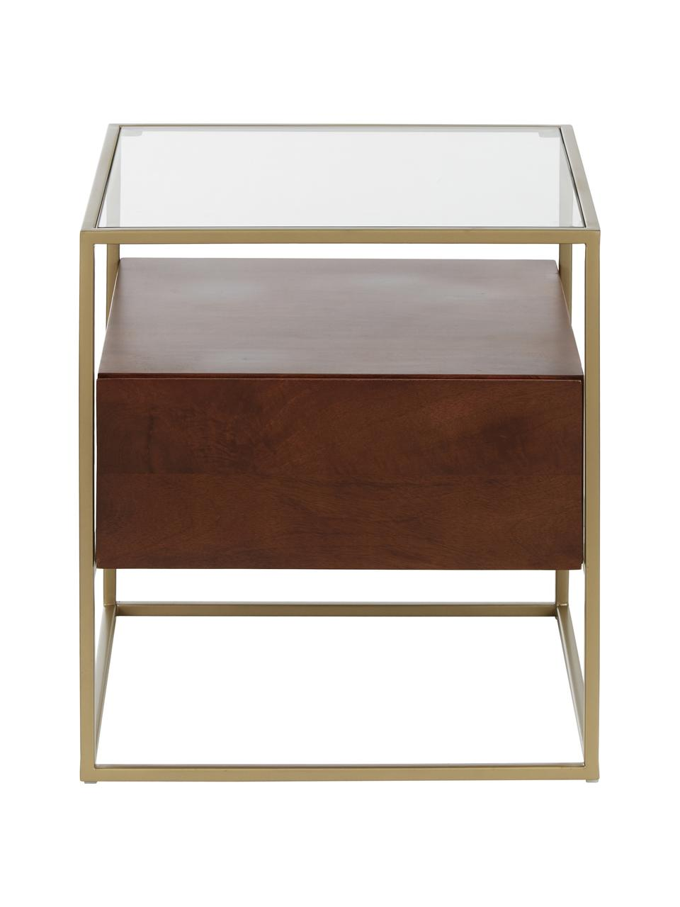 Nachtkastje Theodor met lade, Tafelblad: glas, Frame: gepoedercoat metaal, Transparant, mangohoutkleurig, goudkleurig, 50 x 50 cm
