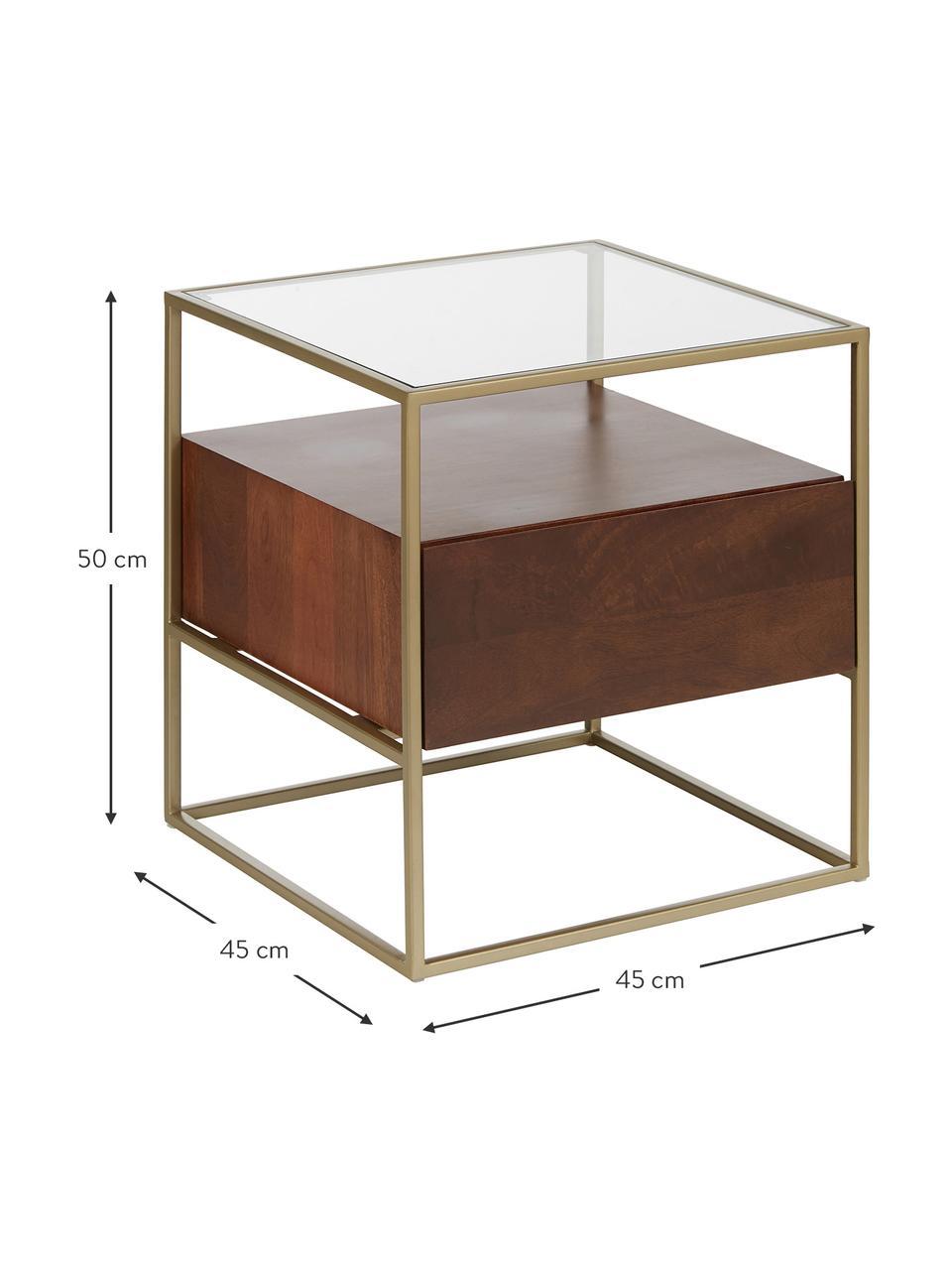 Stolik nocny Theodor, Blat: szkło, Stelaż: metal malowany proszkowo, Drewno mangowe, S 45 x W 50 cm