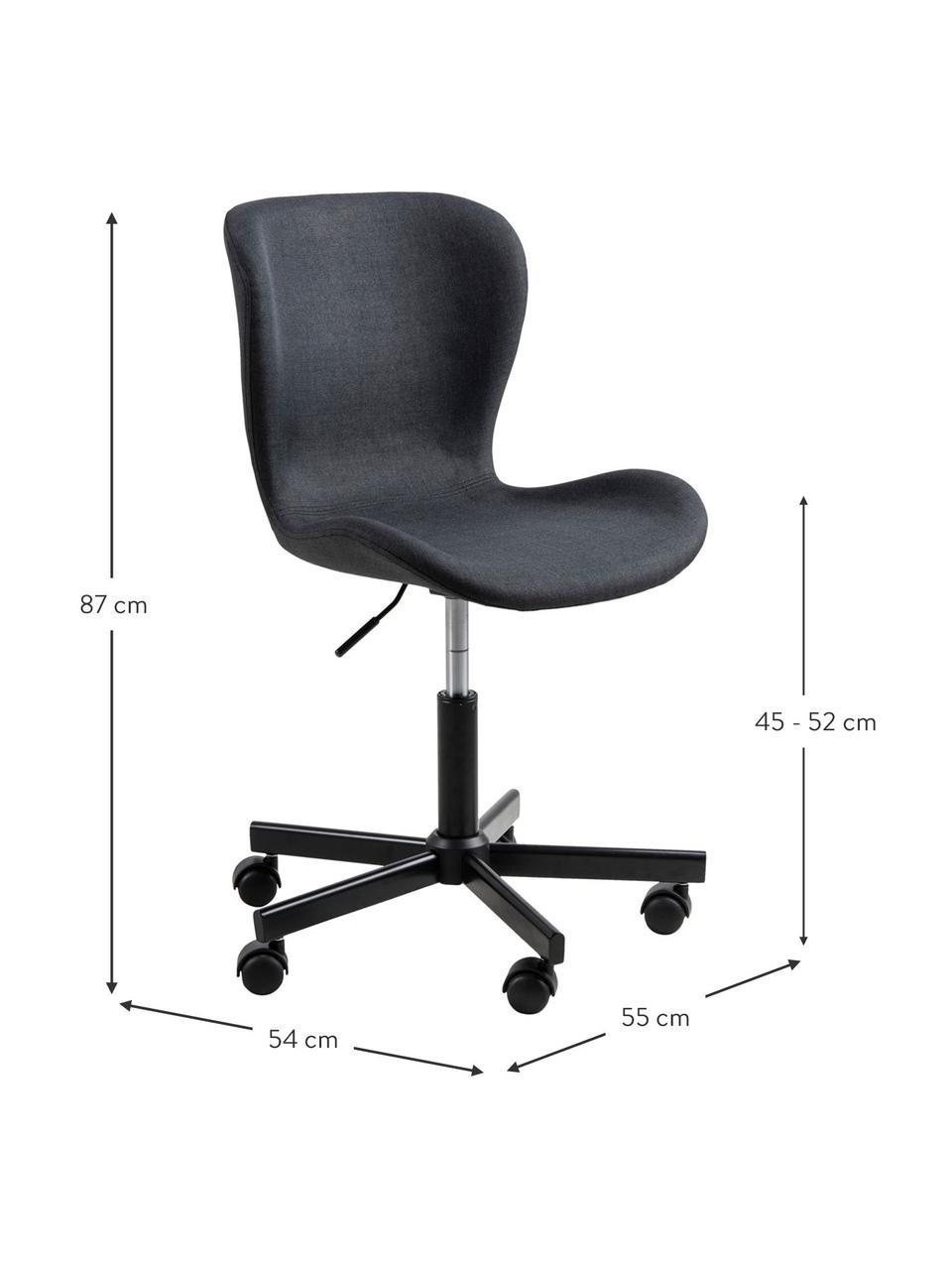 Obrotowe krzesło biurowe Batilda, Tapicerka: tkanina, Nogi: metal malowany proszkowo, Antracytowy, S 55 x G 54 cm