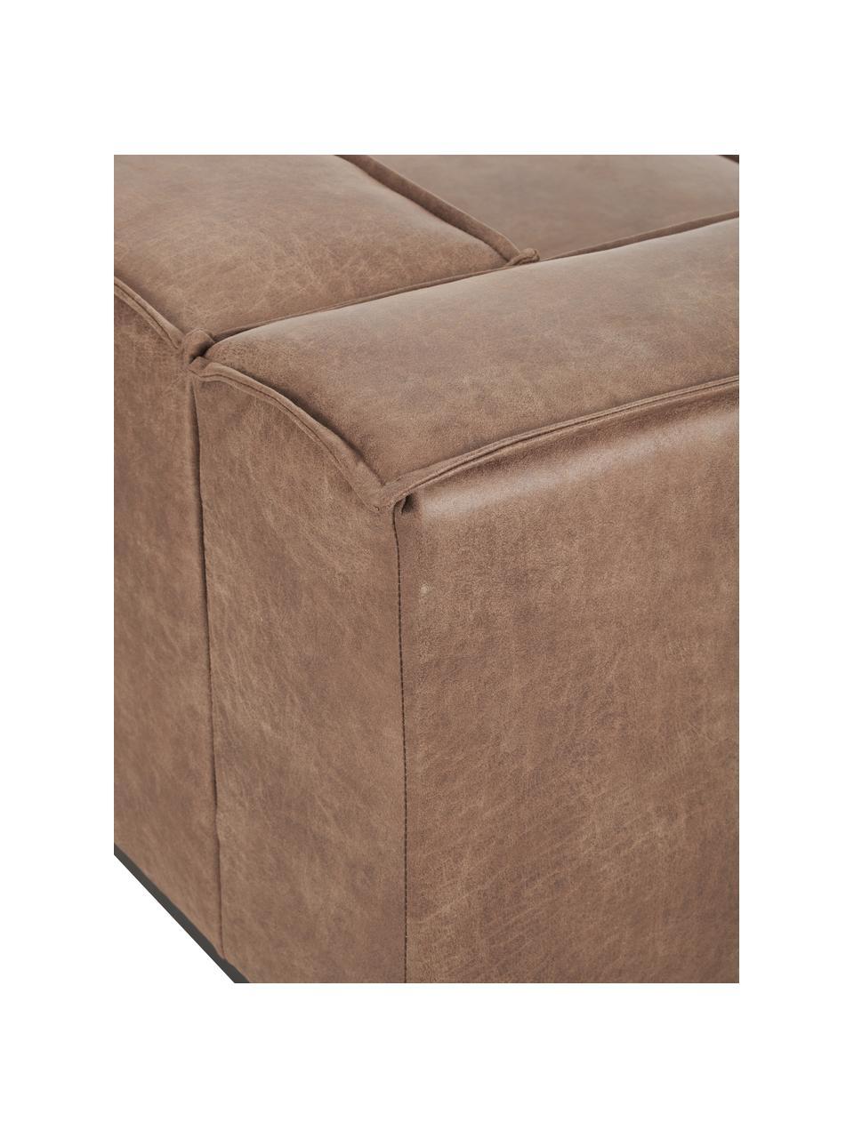 Leder-Sofa Abigail (3-Sitzer) in Braun mit Metall-Füßen, Bezug: Lederfaserstoff (70% Lede, Beine: Metall, lackiert, Leder Braun, B 230 x T 95 cm