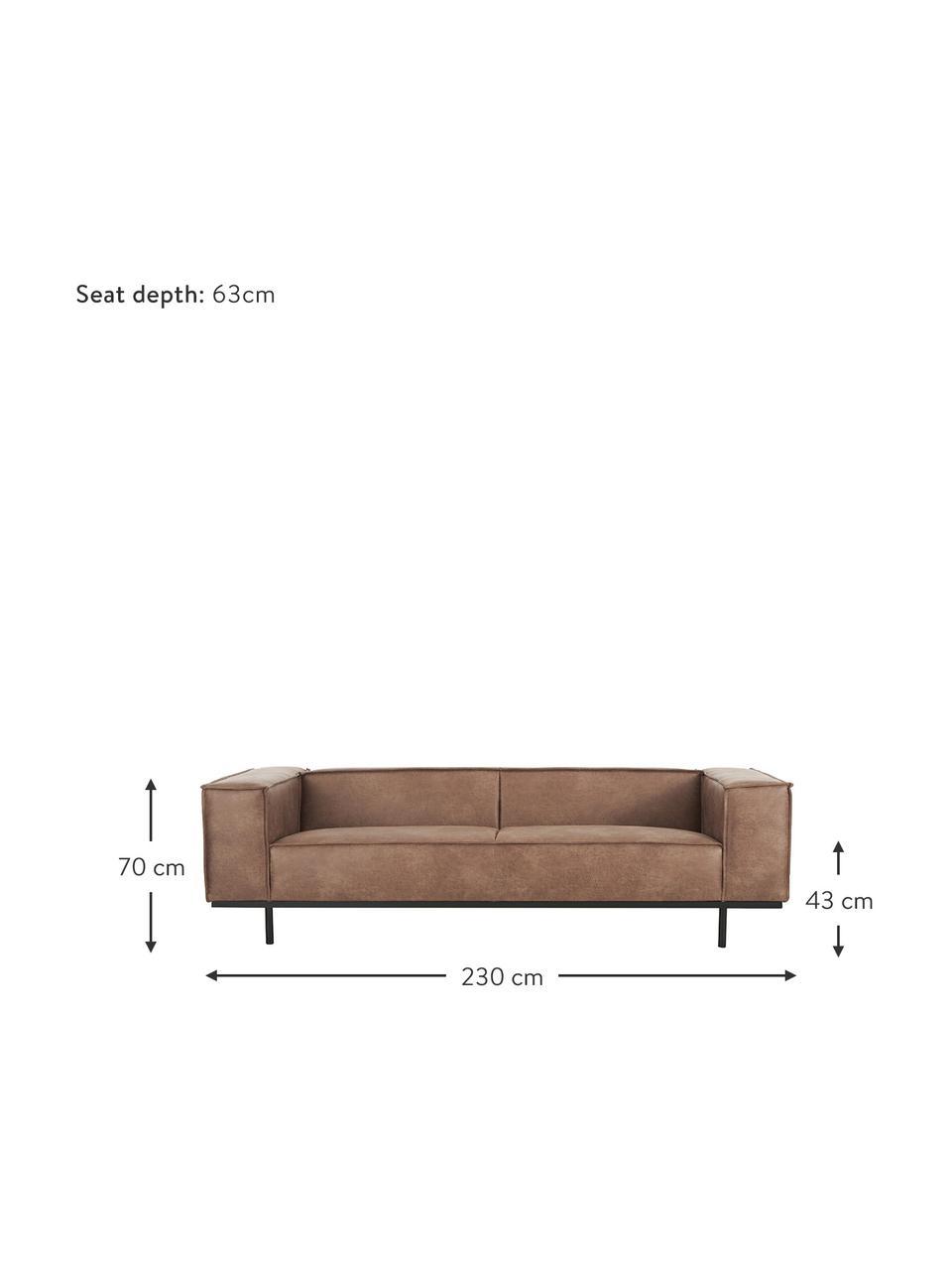 Leren bank Abigail (3-zits) in bruin met metalen poten, Bekleding: gebonden leer (70% leer, , Poten: gelakt metaal, Leer bruin, B 230 x D 95 cm