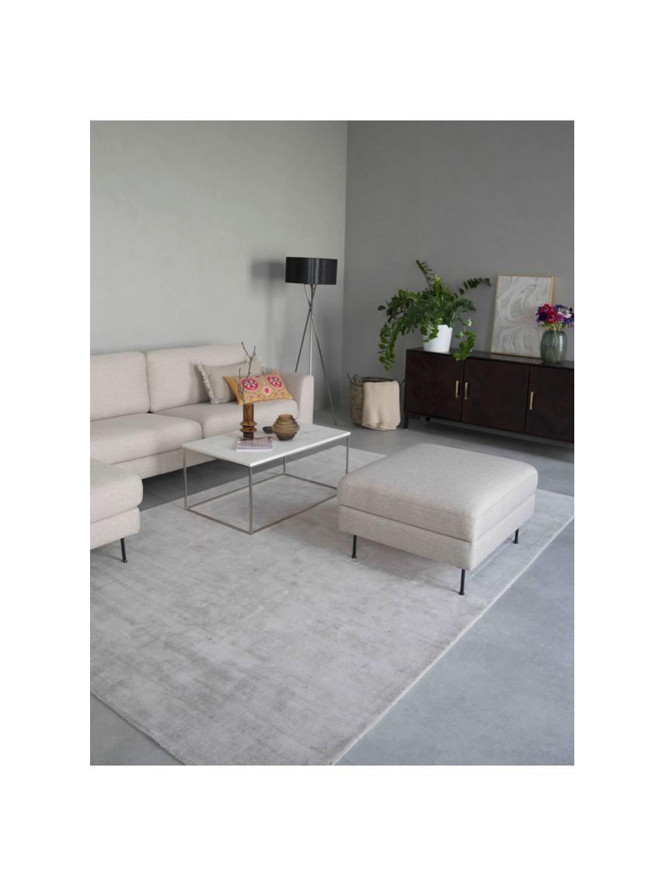 Poggiapiedi contenitore da divano beige Cucita, Rivestimento: tessuto (poliestere) Con , Struttura: legno di pino massiccio, Piedini: metallo laccato, Beige, Larg. 75 x Alt. 46 cm