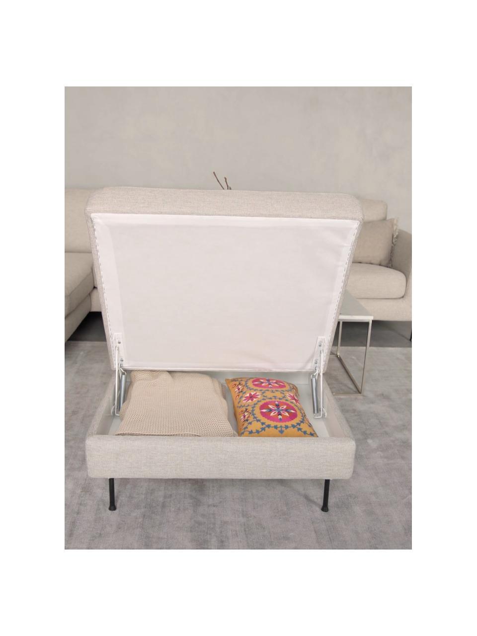 Poggiapiedi contenitore da divano beige Cucita, Rivestimento: tessuto (poliestere) Con , Struttura: legno di pino massiccio, Piedini: metallo laccato, Tessuto beige, Larg. 75 x Alt. 46 cm