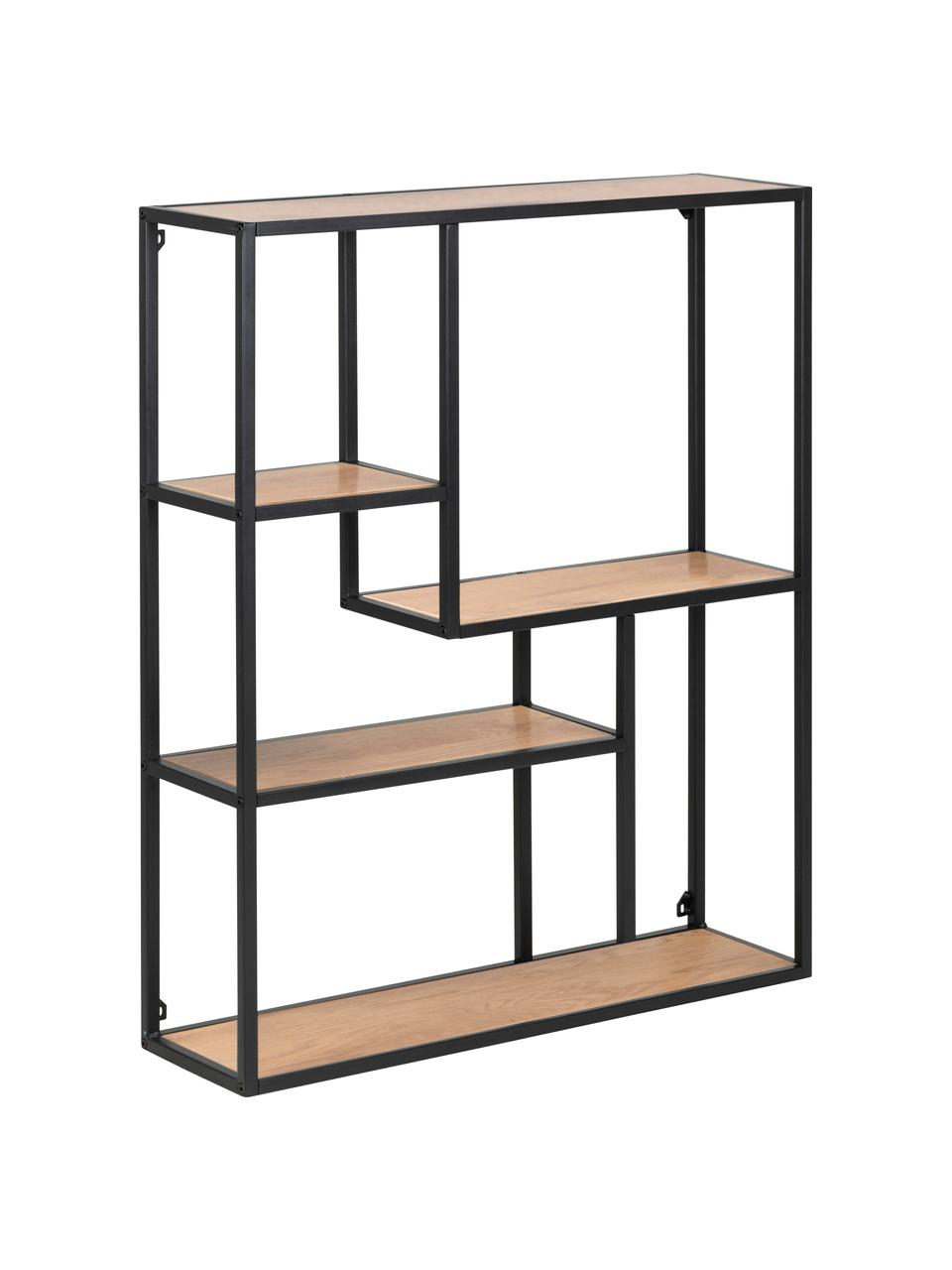 Półka ścienna z drewna i metalu Seaford, Stelaż: metal lakierowany proszko, Półki: dzikie drewno dębowe Rama: czarny, S 75 x W 91 cm