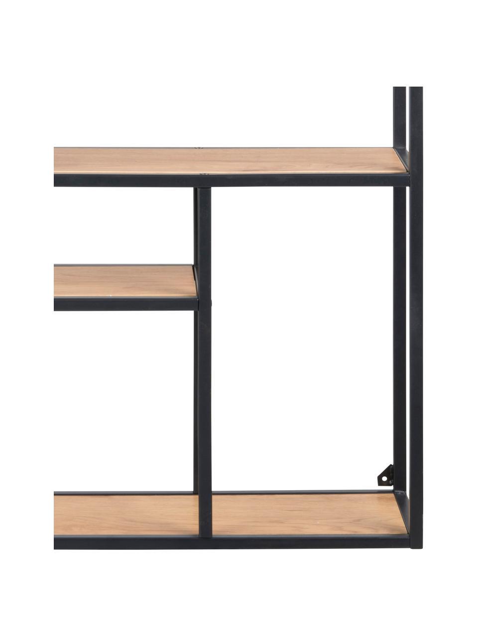 Estante de pared de madera y metal Seaford, Estantes: tablero de fibras de dens, Estructura: metal con pintura en polv, Negro, roble, An 75 x Al 91 cm