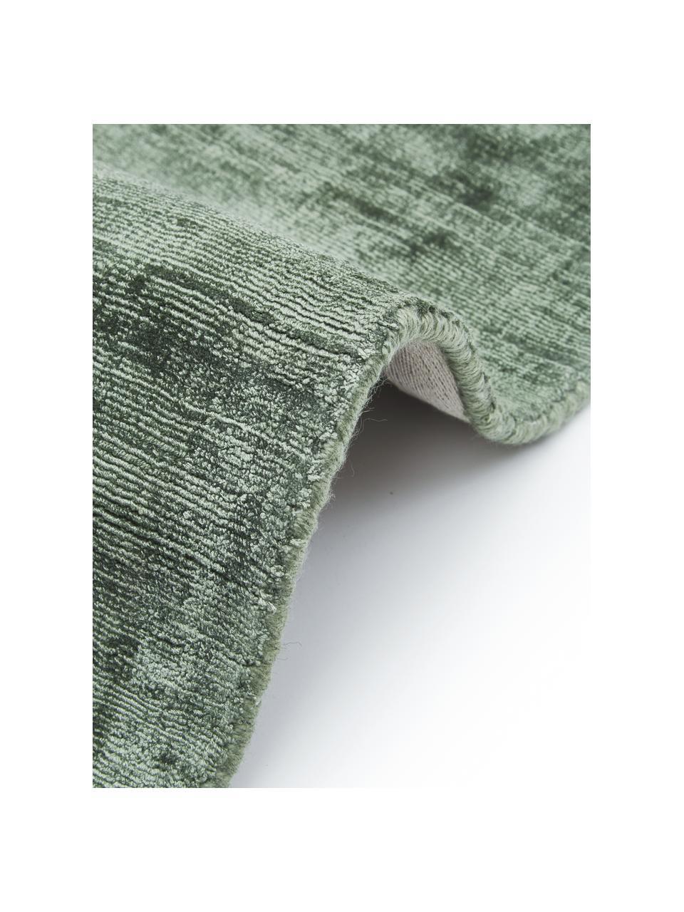 Rond viscose vloerkleed Jane in groen, handgeweven, Bovenzijde: 100% viscose, Onderzijde: 100% katoen, Groen, Ø 200 cm (maat L)