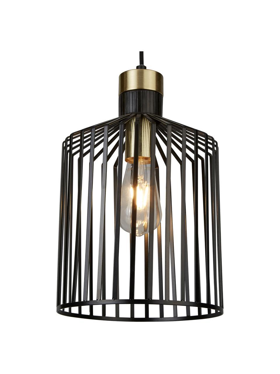 Lampada a sospensione in metallo Bird Cage, Paralume: metallo rivestito, Decorazione: metallo rivestito, Baldacchino: metallo rivestito, Nero, dorato, Ø 22 x Alt. 36 cm