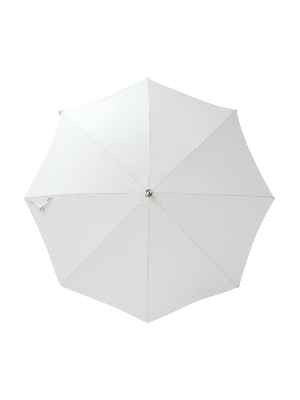 Parasol ogrodowy z frędzlami Retro, Stelaż: drewno naturalne, laminow, Złamana biel, Ø 180 x W 230 cm