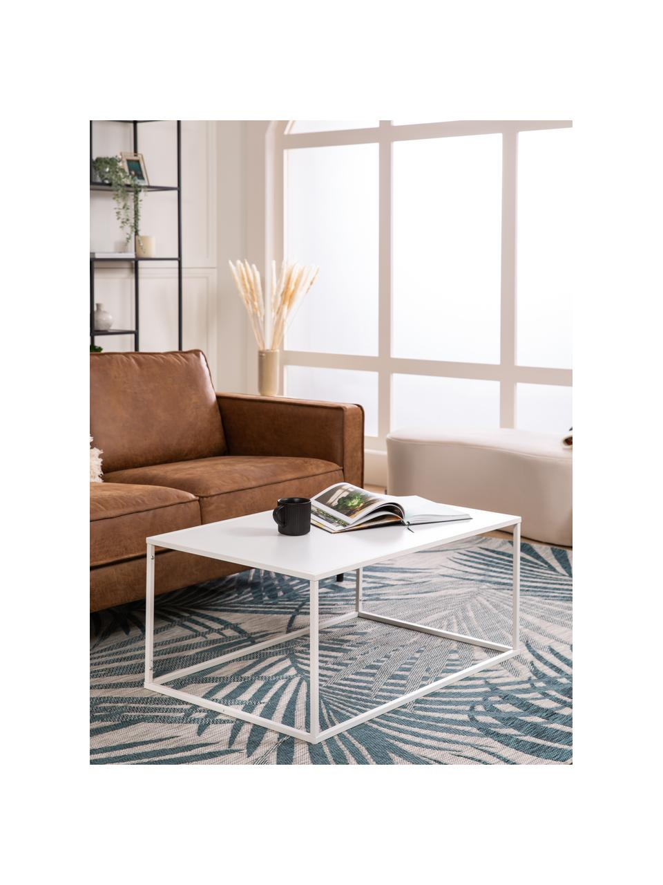 Tavolino da salotto in metallo bianco Neptun, Metallo verniciato a polvere, Bianco, Larg. 90 x Alt. 40 cm