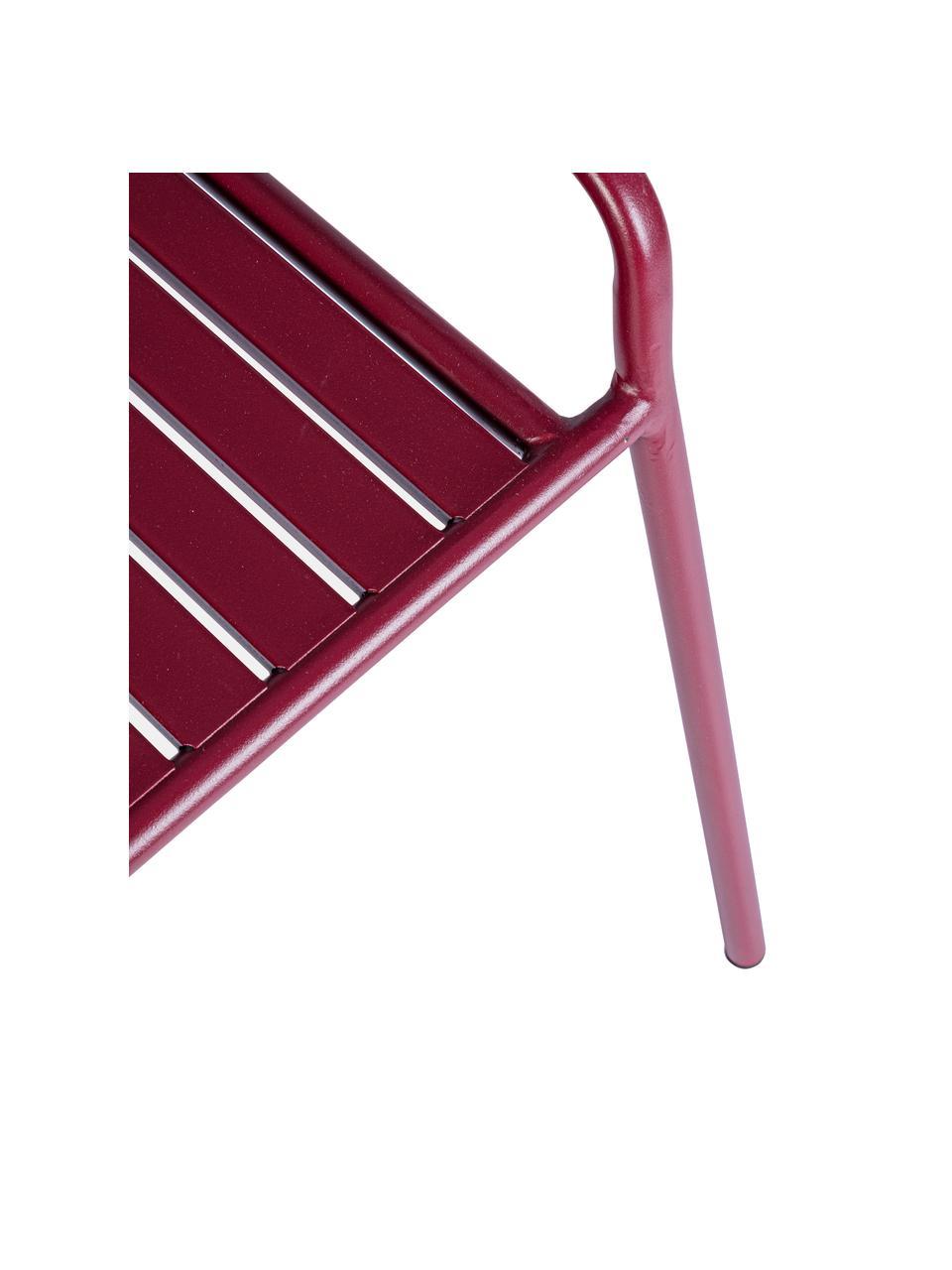 Rote Sitzbank Dalya, Stahl, pulverbeschichtet, Burgundrot, 88 x 51 cm