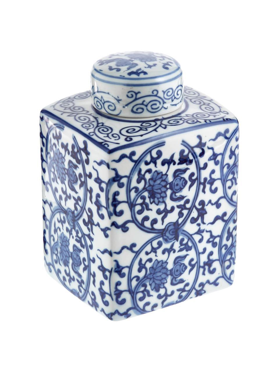Vaas met deksel Ella uit porselein, Porselein, Blauw, wit, 11 x 17 cm