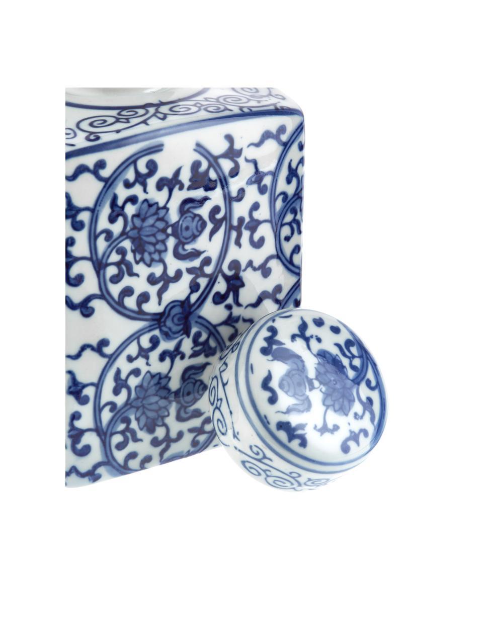 Vaso in porcellana con coperchio Ella, Porcellana, Blu, bianco, Larg. 11 x Alt. 17 cm