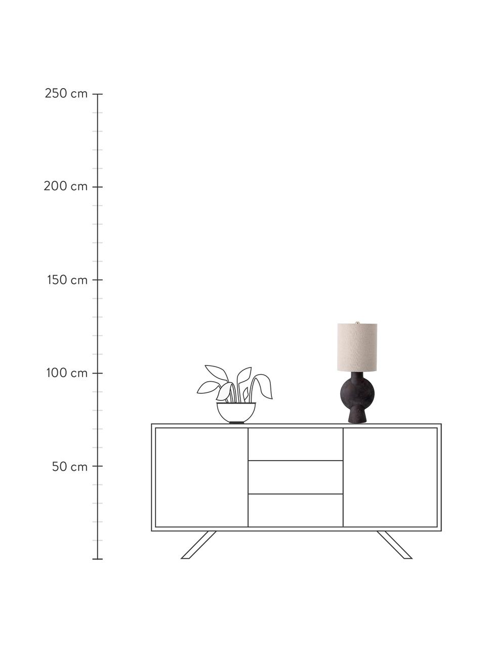 Große Tischlampe Sergio mit Leinenschirm, Lampenschirm: Leinen, Lampenfuß: Terrakotta, Dekor: Metall, Beige, Braun-Schwarz, Ø 21 x H 55 cm