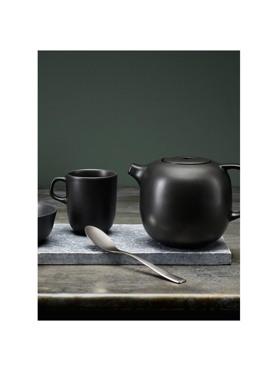 Tassen Nordic Kitchen in Schwarz matt, 4 Stück, Steingut, Schwarz, matt, 300 ml
