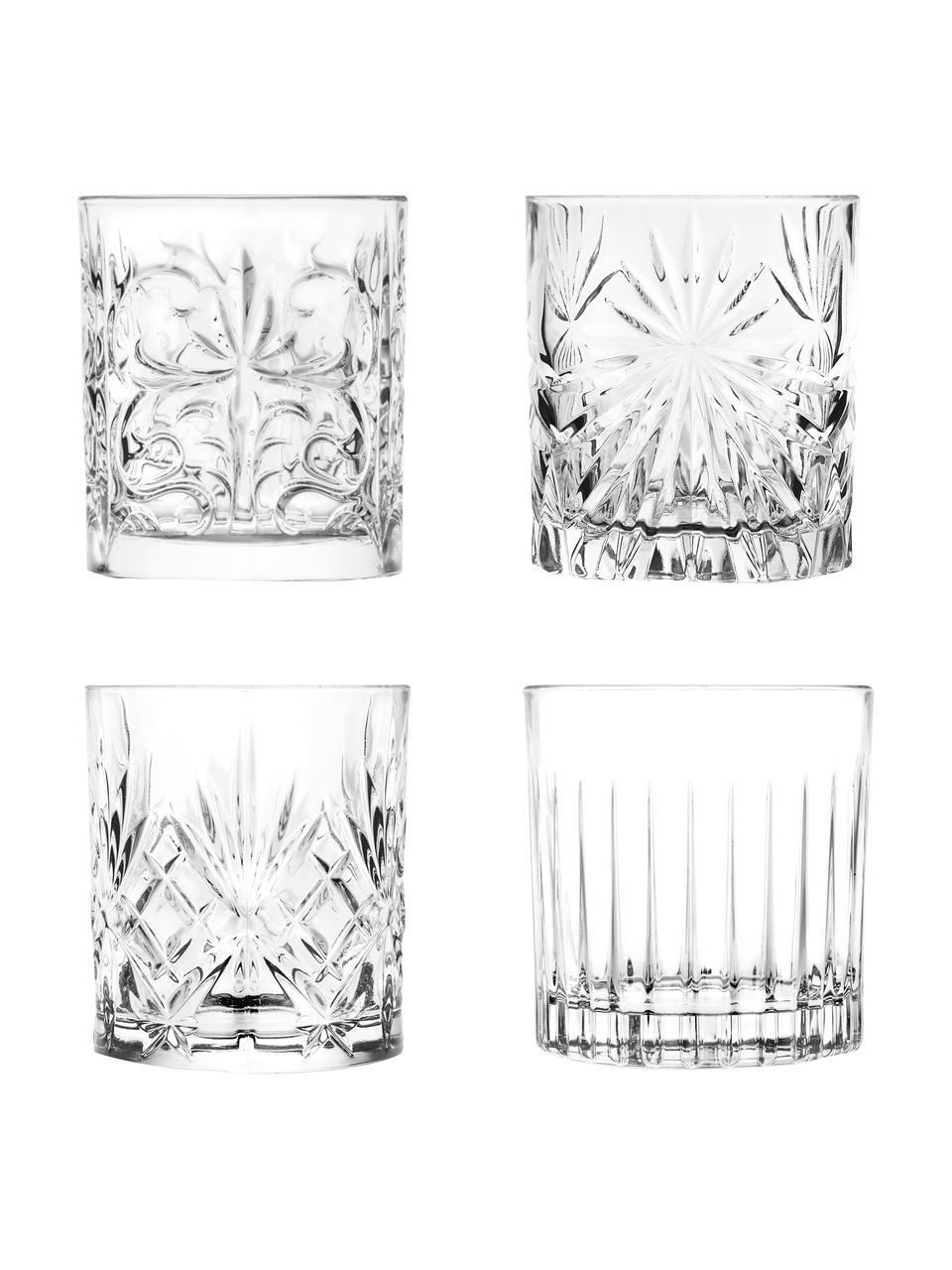 Kristallgläser Bichiera mit Relief, 4er-Set, Kristallglas, Transparent, Ø 8 x H 9 cm