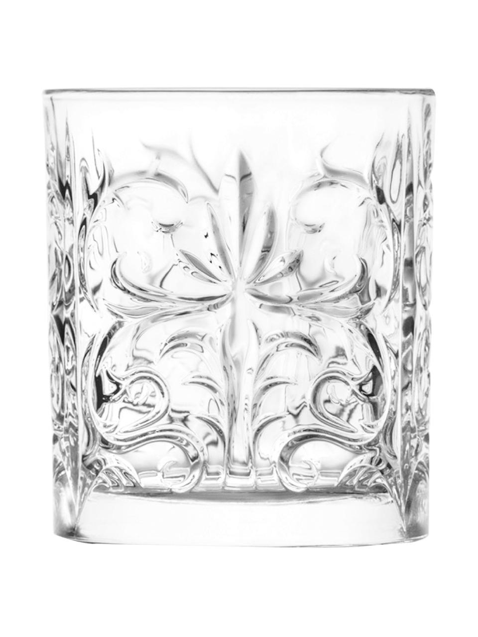 Vasos old fashioned de cristal con relieve Bichiera, 4uds., Cristal, Transparente, Ø 8 x Al 9 cm