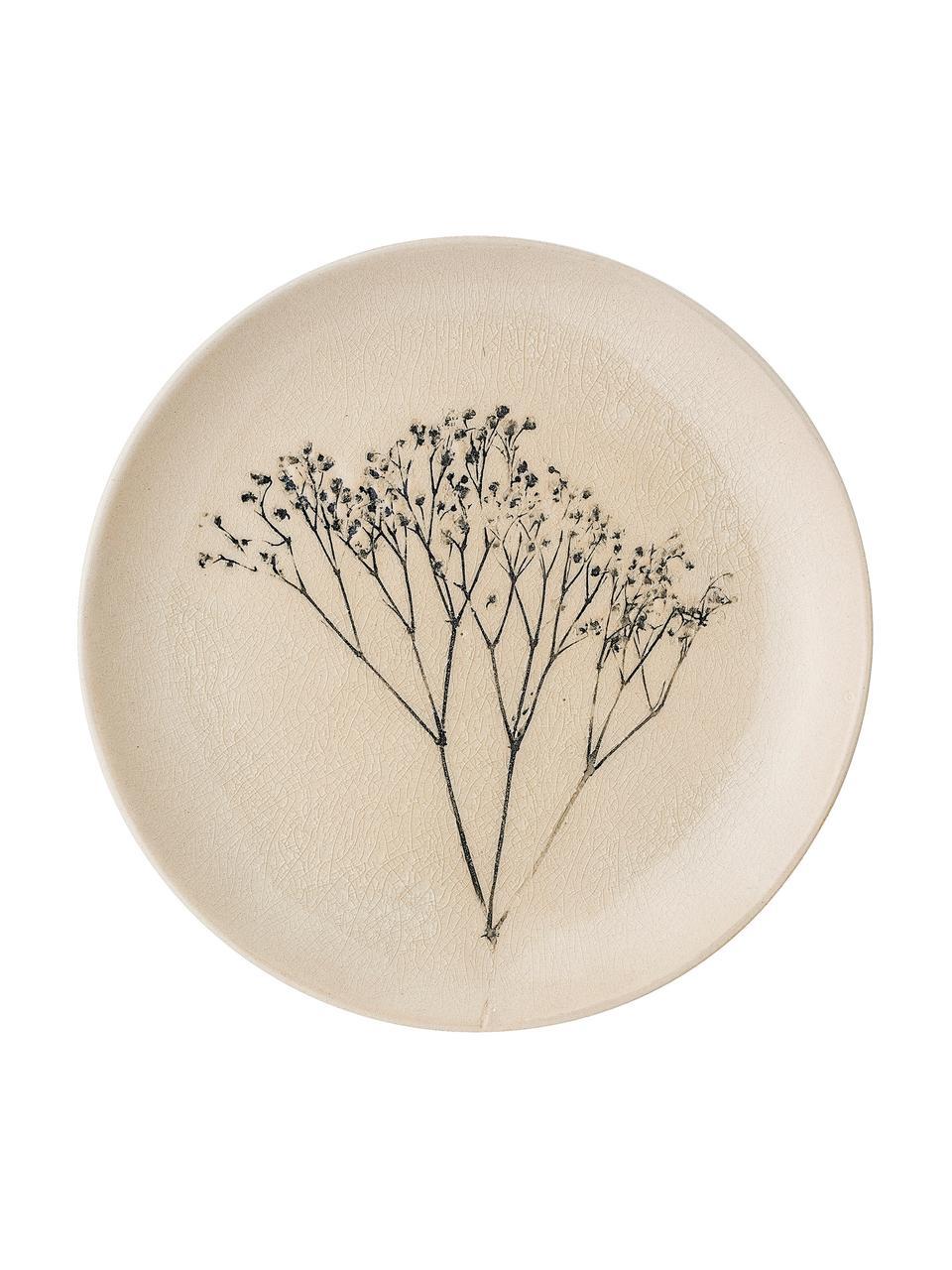 Handgemachter Frühstücksteller Bea mit Gräser-Motiv, Steingut, Beige, Mehrfarbig, Ø 22 cm