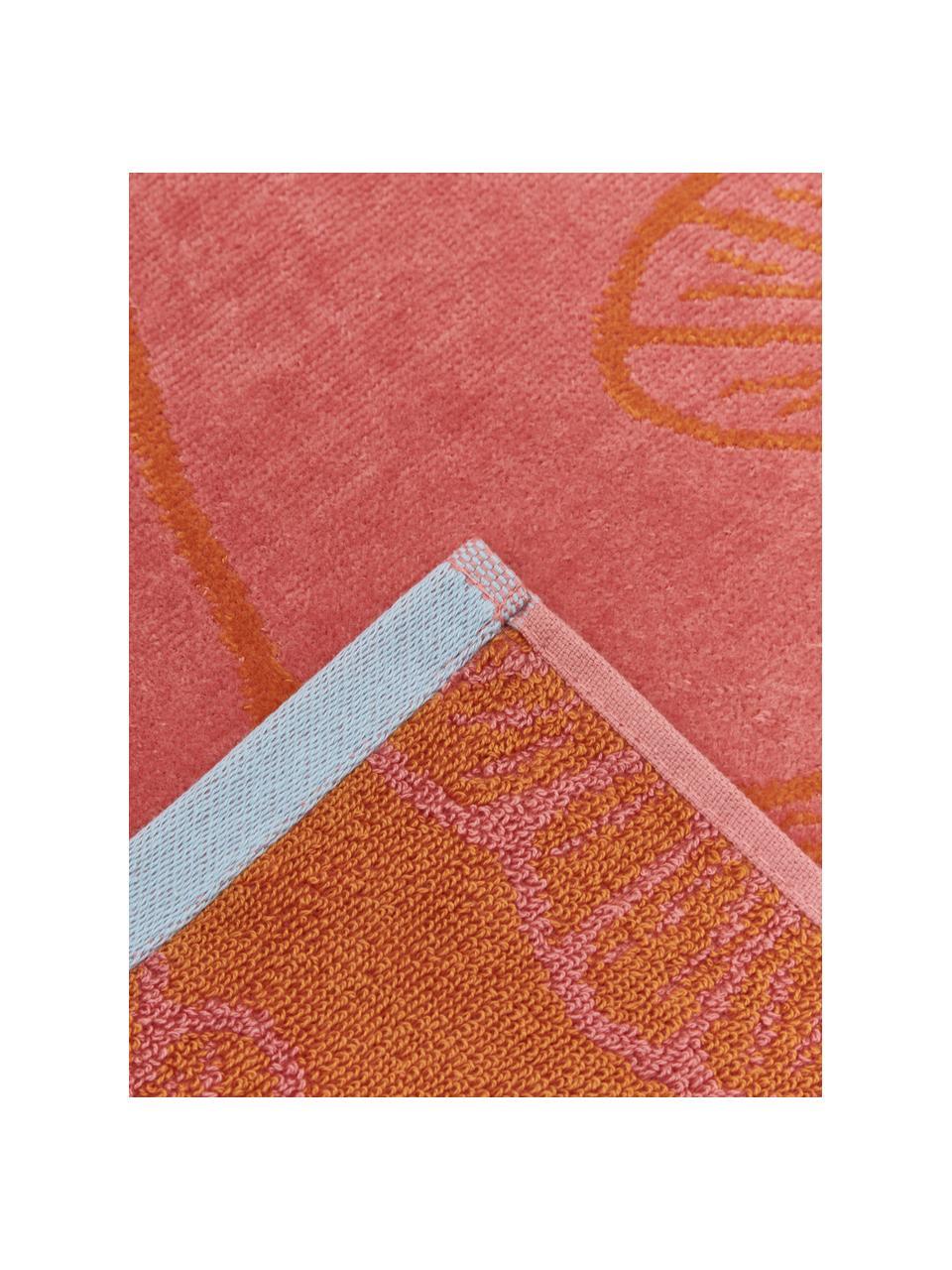 Strandtuch Burnt Sky mit Ginkgomotiv, 100% Baumwolle, Rosa, 100 x 180 cm