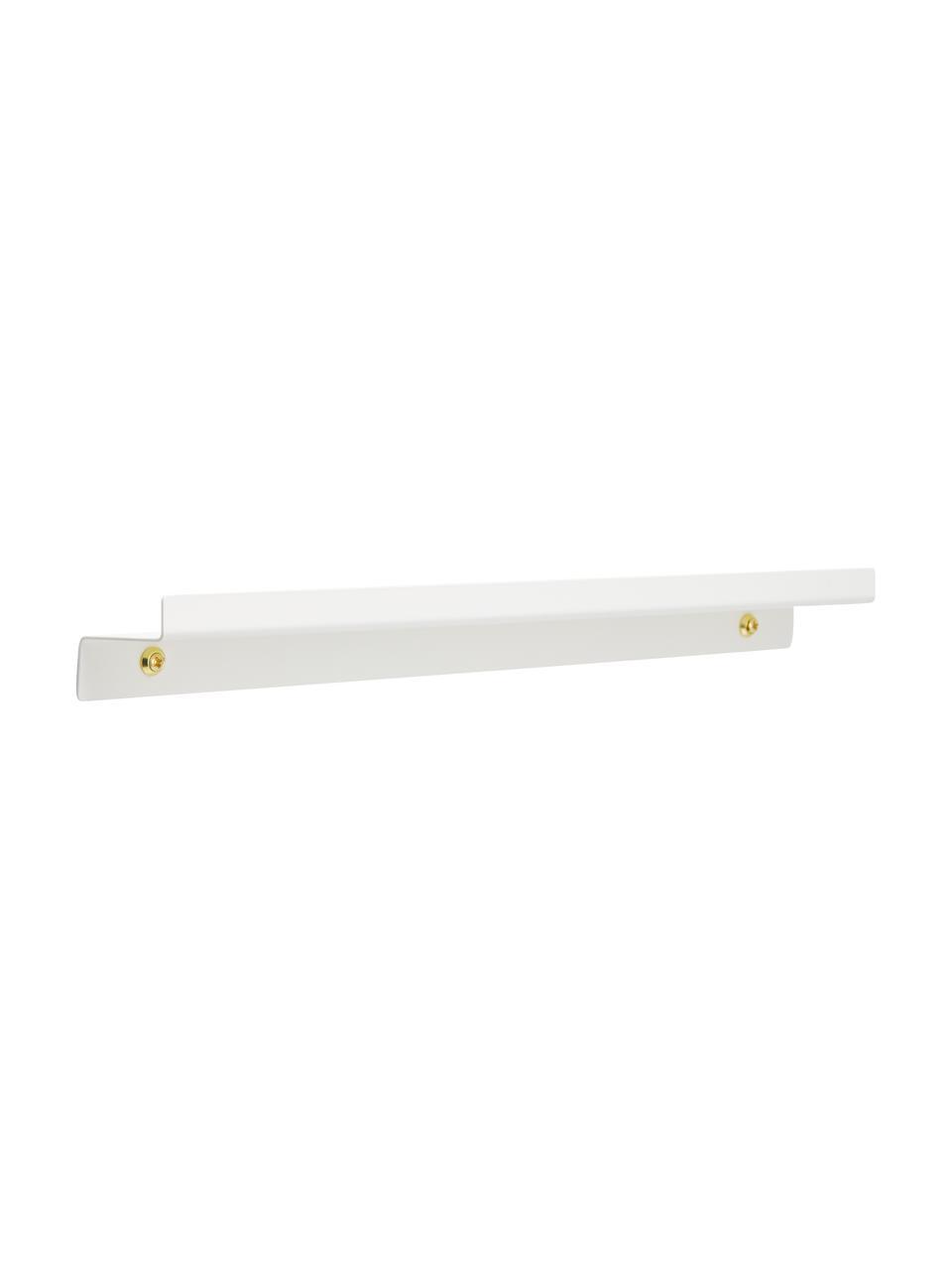 Ripiano bianco opaco Shelfini, Asta: metallo verniciato, Bianco, ottone, Larg. 50 x Alt. 6 cm