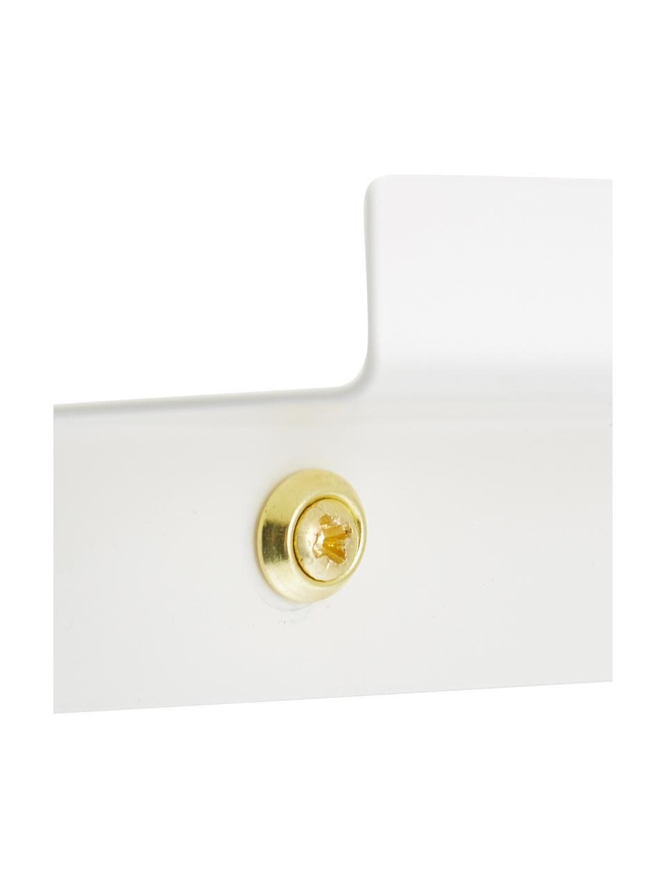 Schmale Bilderleiste Shelfini in Weiß, Leiste: Metall, lackiert, Weiß, Messing, 50 x 6 cm