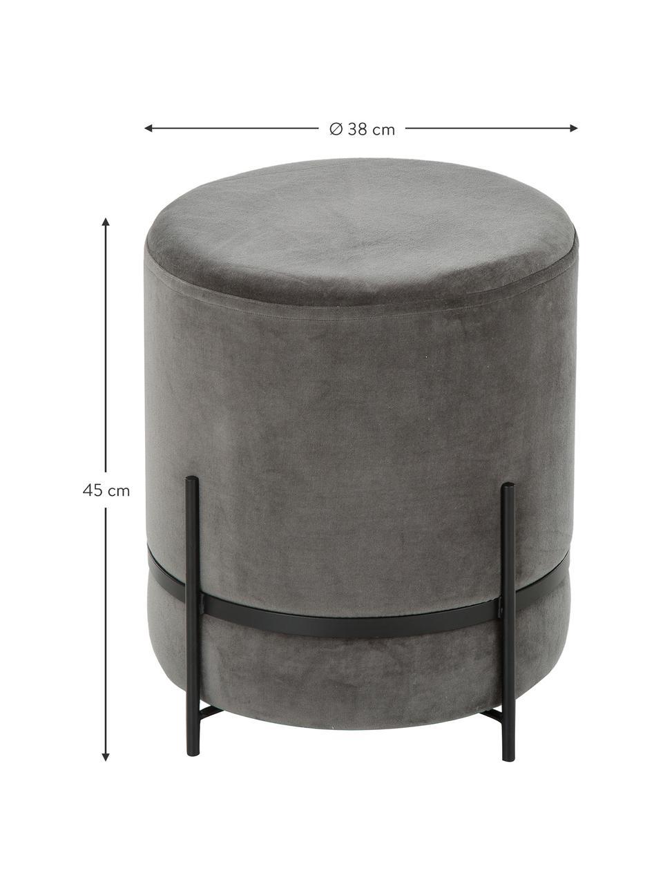 Samt-Hocker Haven, Bezug: Baumwollsamt, Fuß: Metall, pulverbeschichtet, Grau, Schwarz, ∅ 38 x H 45 cm