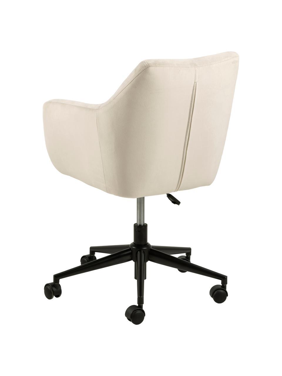 Biurowe krzesło obrotowe z aksamitu Nora, Tapicerka: poliester (aksamit) 2500, Stelaż: metal malowany proszkowo, Beżowy, czarny, S 58 x G 58 cm