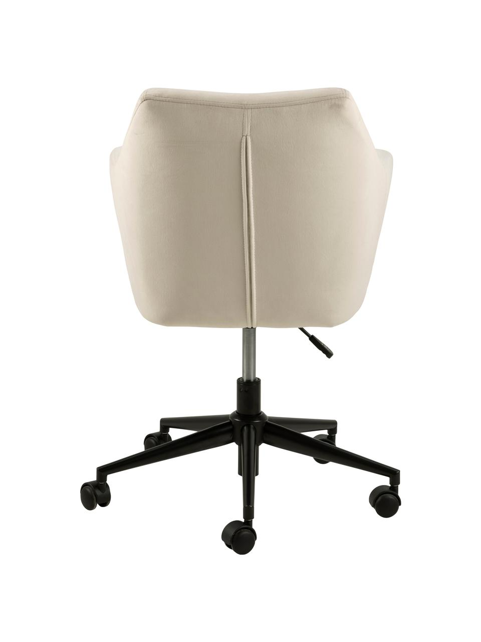 Fluwelen bureaustoel Nora, in hoogte verstelbaar, Bekleding: polyester (fluweel), Frame: gepoedercoat metaal, Beige, zwart, 58 x 58 cm