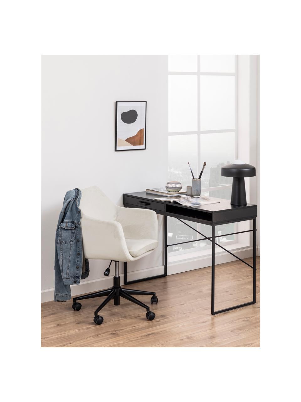 Fauteuil de bureau en velours à hauteur ajustable Nora, Beige, noir