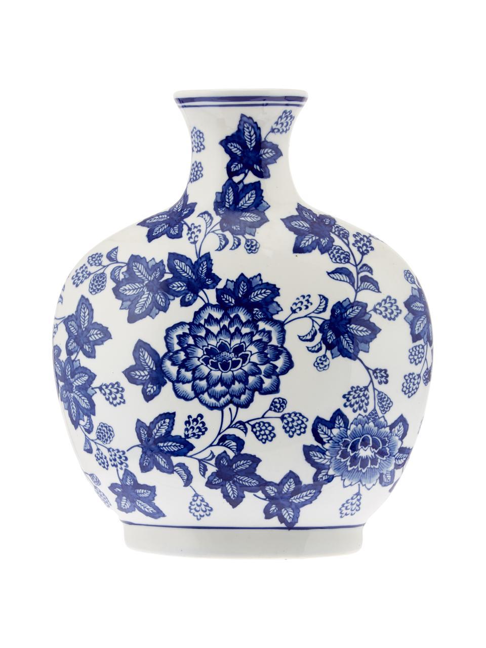 Vaso decorativo in ceramica Blue Flowers, Ceramica, Bianco latteo, blu, Larg. 26 x Alt. 32 cm
