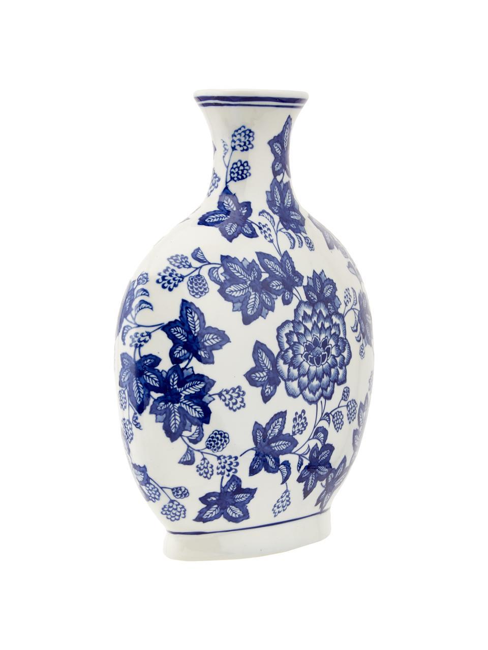 Keramik-Vase Blue Flowers, Keramik, Gebrochenes Weiß, Blau, 26 x 32 cm